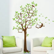 Amaonm Giant Green Leaves Birds Family Photo Frame Tree Wall Decals Huge Family Picture Wall Stciker Murals Peel Stick for Kids Bedroom Livingroom Girls Room Playroom Home Art Decor Decorations