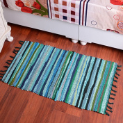 yazi Hand loomed Rag Rug Collection Handwoven Natural Fibre Cotton Area Rug 50cm by 80cm , Green Colour