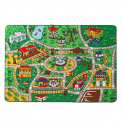 Kids Rug Street Map with Road Fun Play Rug Children Area Rug for Bedroom Playroom & Nursery - Non Skid Gel Backing