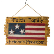 "Glitzhome Patriotic Wooden ""Faith Family Friends Freedom"" American Flag Wall Decor"