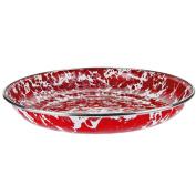 Enamelware - Red Swirl Pattern - 25cm Pasta Plate