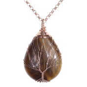 Top Plaza Wire Wrapped Tree of Life Natural Gemstone Teardrop Pendant Necklace Healing Crystal Chakra Jewellery for Women - Tiger Eye Stone