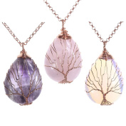 Top Plaza Wire Wrapped Tree of Life Natural Gemstone Teardrop Pendant Necklace Healing Crystal Chakra Jewellery for Women - Amethyst+Rose Quartz+Synthetic Opalite