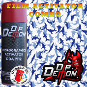 Combo Kit Small Blue Sharks Hydrographic Water Transfer Film Activator Combo Kit Hydro Dipping Dip Demon