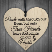 Red Ocean True Friends Leave Footprints On Our Hearts Wooden Hanging Heart Friend Plaque