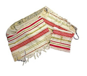Pink and Gold Grafted In Messianic Tallit Talit Zuluf Prayer Shawl 60cm x 180cm with matching Bag HLG021