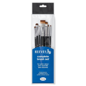 Reeves 8210507 7 Watercolour Painting Short Handle, 1 x 10.9 x 38.7 cm – black
