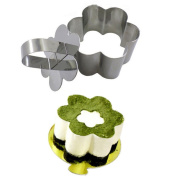 LAMEIDA Cake Rings Cheese Cake Mould Mousse Cake Rings Stainless Steel with Pusher Flower 4 Pieces