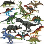 Joyin Toy 18 Pieces Educational Realistic Dinosaur Figures with Movable Jaws Including T-rex, triceratops, velociraptor, etc