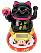 A Black Beckoning Maneki Neko Fortune Cat Japanese Oriental on Daruma Doll Solar Toy Housewarming Gift Home Decor B11876 ~