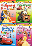 Numbers and Counting, Time and Money, Phonics and Reading, The Alphabet - Disney Adventures in Learning Educational Activity Workbook (Pack of Four