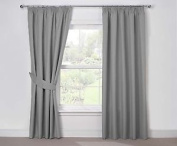 Julian Charles Luna Thermal Coated Pencil Pleat Curtains, Silver, 170cm X 180cm