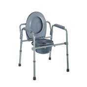 Homcom Folding Commode Chair Raised Toilet Seat With Bucket Adjustable Height...