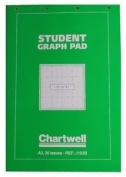 Chartwell A3 Green Student Graph Pad 50 Sheets (0.3cm , 1.3cm & 2.5cm ) J103b