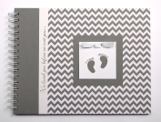Pregnancy Journal by Charmbooks | We loved you before we met you... | Grey Chevron with Baby Footprints