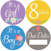 Belly Doodles 36 Weekly Pregnancy Stickers Flowers 10cm