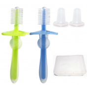 2pcs 360° Silicone Baby Toothbrush Gum Massager with Removable Anti-choke Shield + Brush Cover + Carrying Case