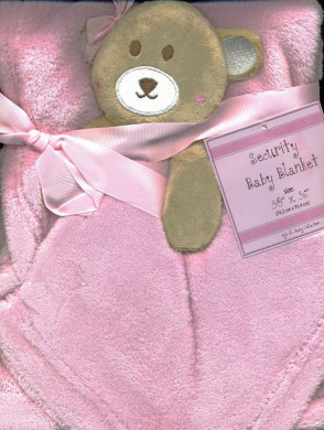 Super Soft Pink Plush Baby Toddler Blanket & One Velour Monkey Security Buddy Snuggle Blanket