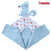 Hessie Baby Comfort Security Blanket with Animal, Travel Toy, Bedtime Cuddle Soother Towel - Blue Squirrel