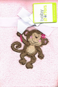 Super Soft Pink Plush Baby Toddler Blanket Velour Monkey Applique