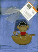 Lambs & Ivy Blue Plush Monkey Pirate Ship Embroidered Baby Toddler Blanket