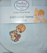 Precious Moments Baby Boys Thermal Blanket Embroidered Puppy Light Blue