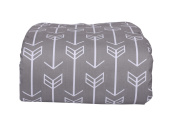 Arrow Toddler Blanket (White Arrows on Grey) - Minky Backing - Box Quilted - White Trim