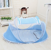 Home Cal Mosquito Net for Baby Encryption Fabric Portable Folding Mosquito Net Blue with Bottom