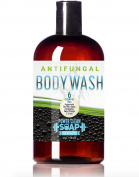 Antifungal Body Wash w/SIX Essential Oils -Tea Tree, Peppermint, Eucalyptus, Argan, Sweet Orange, and Litsea- Helps Wash Away Athlete's Foot, Jock Itch, Ringworm   Moisturising Glycerin   350ml