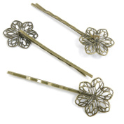 250 Pieces Bijou Jewellery Making Supply Charms Findings Bronze Tone L1NA1 Flower Hairpin Hairclip Hair Clip