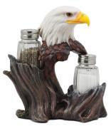 Ebros Gift Patriotic American Bald Eagle Glass Salt & Pepper Shakers Holder Figurine Decor 18cm H