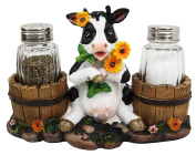 Ebros Gift Lovely Sunflower Cow With Old Country Farm Milk Barrels Decorative Glass Salt Pepper Shakers Holder Resin Figurine 18cm Wide