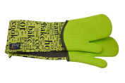 ZEAL Double Steam Stop Waterproof Silicone Oven Glove - Extra Arm Protection - Non-Slip and Heat Resistant to 482F - Green Text Design