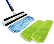 Kitchen + Home Professional Microfiber Mop – 2 Washable Reusable Wet Mop Pads and 1 Bonus Dry Dust Mop Pad Refill Included