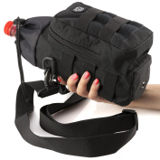 Water Bottle Carrier and Holder Bag - Molle Pouch Black Tactical for Hydration - Sport Travel Bicycle and Hiking 470ml to 1890ml-Carrying Straps for Hand and Shoulder with Waterproof Pocket by P & P4EVER