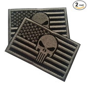 Punisher USA American Flag Tactical Morale Patch with Hook and loop by Backwoods Barnaby