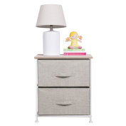 mDesign Fabric Baby 2-Drawer Dresser and Storage Organiser Unit for Nursery, Bedroom, Play Room - Linen