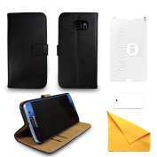 for Samsung Leather Phone Case + Tempered Glass Screen Protector Flip Gadgitech -...