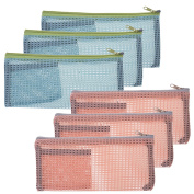 BCP 6 pcs Nylon Travel Zipper Mesh Bag Makeup Cosmetics Zip Organiser Bag, Pencil Bag Pen Pouch