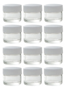 Clear Glass 5 ml 1/6 oz Small Thick Wall Balm Salve Pot Container Jars with White Ribbed Lids (12 pack) + Travel Bag