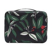 ACTLATI Large Capacity Printed Flower Toiletry Bag Makeup Wash Bathing Storage Handbag Cosmetic Pouch Black