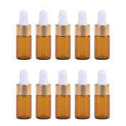 BCP 10 PCS 3 ML Brown Dropper Glass Bottle with Gold Colour Cap for Essential Oil Perfume