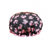 Female Double Layers Waterproof Shower Cap Dust-Proof Oil-Proof Bath Hat, Bowknot, Black