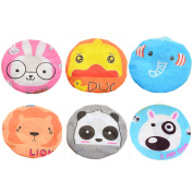 6 PCS Women Girl Cute Cartoon Style Waterproof Shower Hair Cap Hat with Elastic Opening for Home Salon Makeup Cleansing Bathing