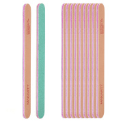 MAKARTT Professional Nail File 100/180 Grit Yellow & Green Washable Double Sided 10pcs Pack