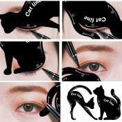 Cat Eyeliner Stencil,2Pcs Smoky Eyeshadow Applicators Template Plate,Professional Multifunction Black Cat Shape Eye liner & Eye Shadow Guide Template