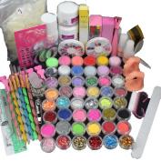 Nail Tools ,Vanvler 21 in 1 Professional Acrylic Glitter Colour Powder French Nail Art Deco Tips Set