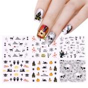 NICOLE DOARY 12 Sheets Halloween Water Decal Spider Skull Pumpkin Pattern Manicure Nail Art Transfer Stickers