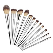 Ruier-hui 12Pcs Elegant Silver Make up Brushes, Start Makers Cosmetics Brush Kit Professional Makeup Brush Set