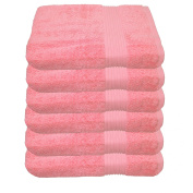 Julie Hand Towel 50 x 100 cm in 23 Colours Julsen Pack of 6 Soft and Absorbent 500gsm Oeko Tex, Cotton, pink, 50 x 100 cm
